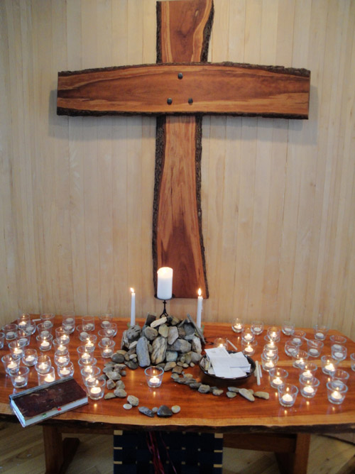 the altar table at the end of worship on 9/11