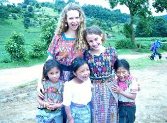 annie with village children