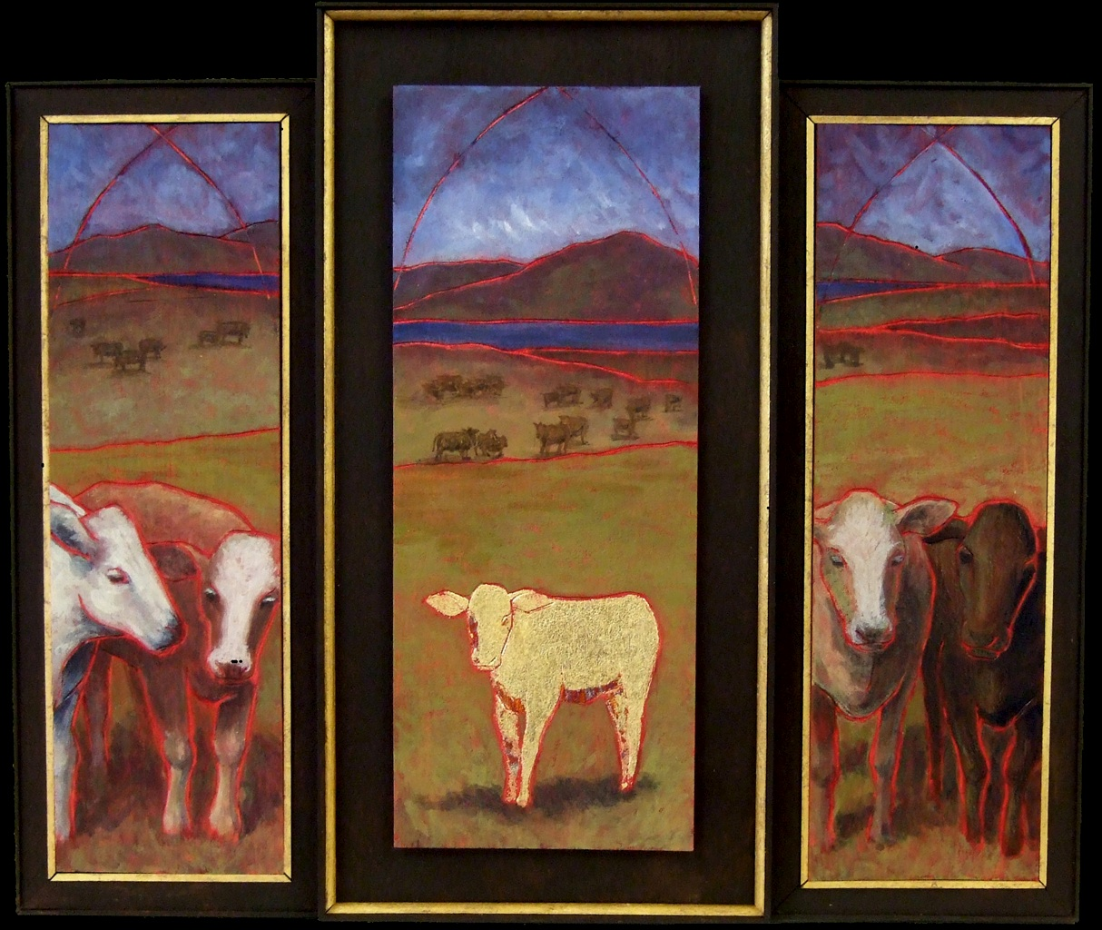 """Amy Gray, """"Sacred Cows,"""" 2011, gold leaf and paint on wood"""