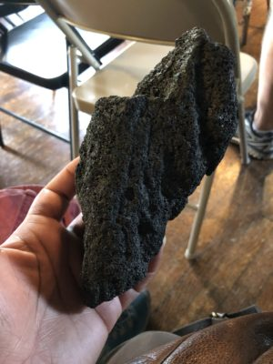 a hand-sized piece of coal from the local mines