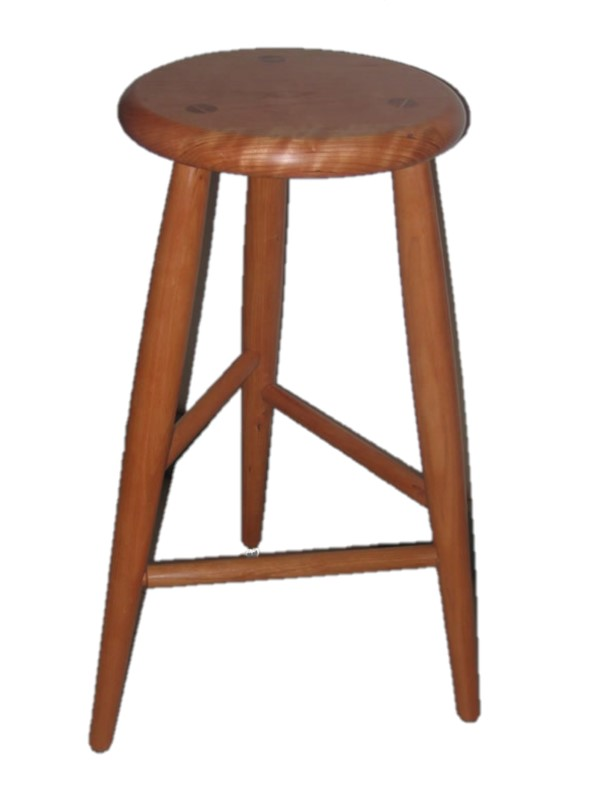 Wooden three-legged stool